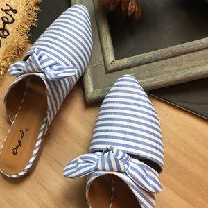 Shoes - Bow stripes ribbon vegan flats mules shoes
